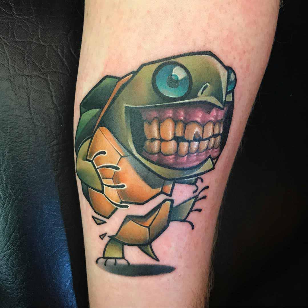 new school turtle tattoo