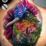 Very Colorful Hummingbird Tattoo on Back