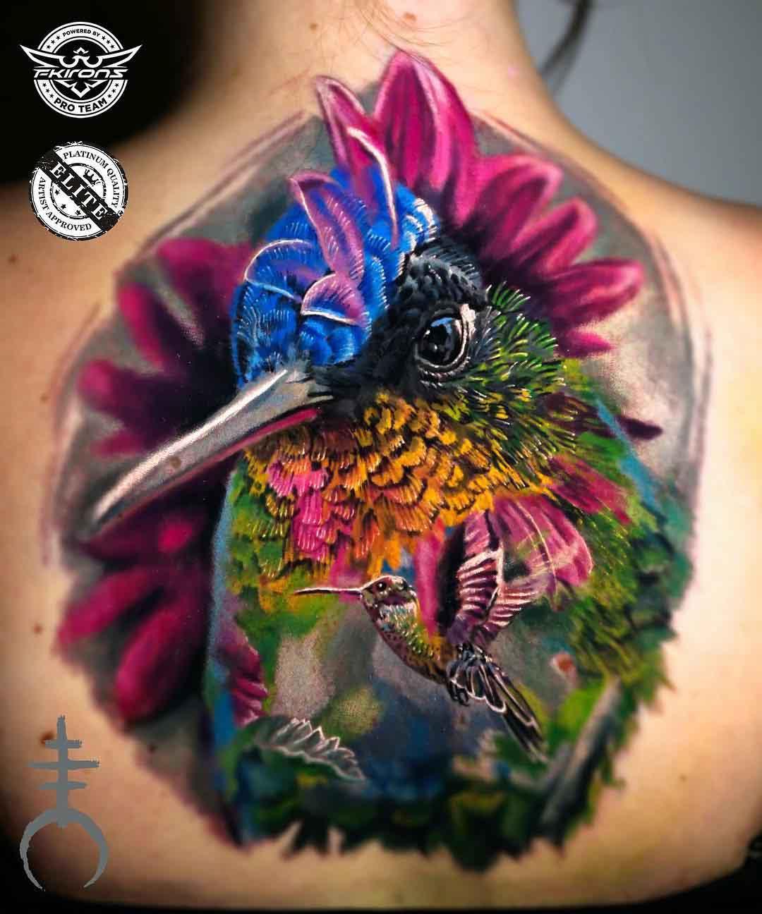 back tattoo hummingbird colorful