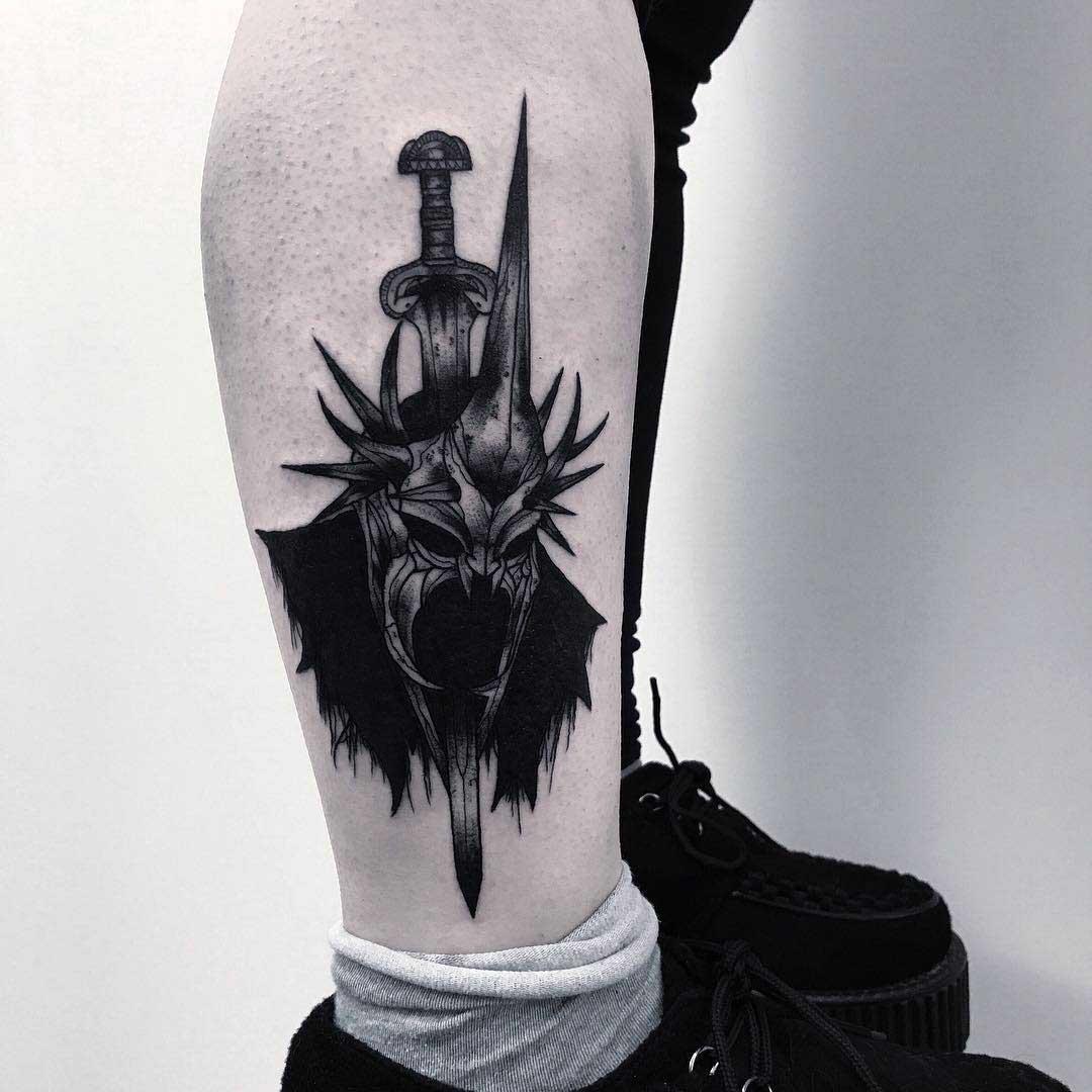 ankle leg tattoo witchking