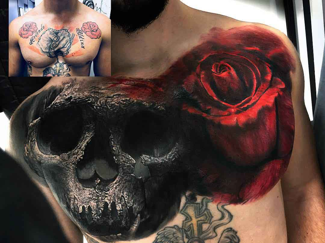 skull and rose tattoo cover up on chest