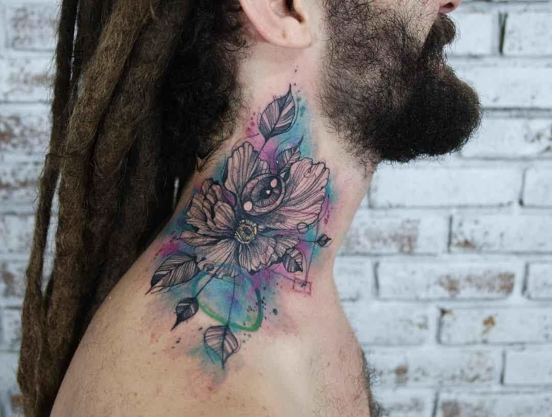 neck tattoo flower with eye