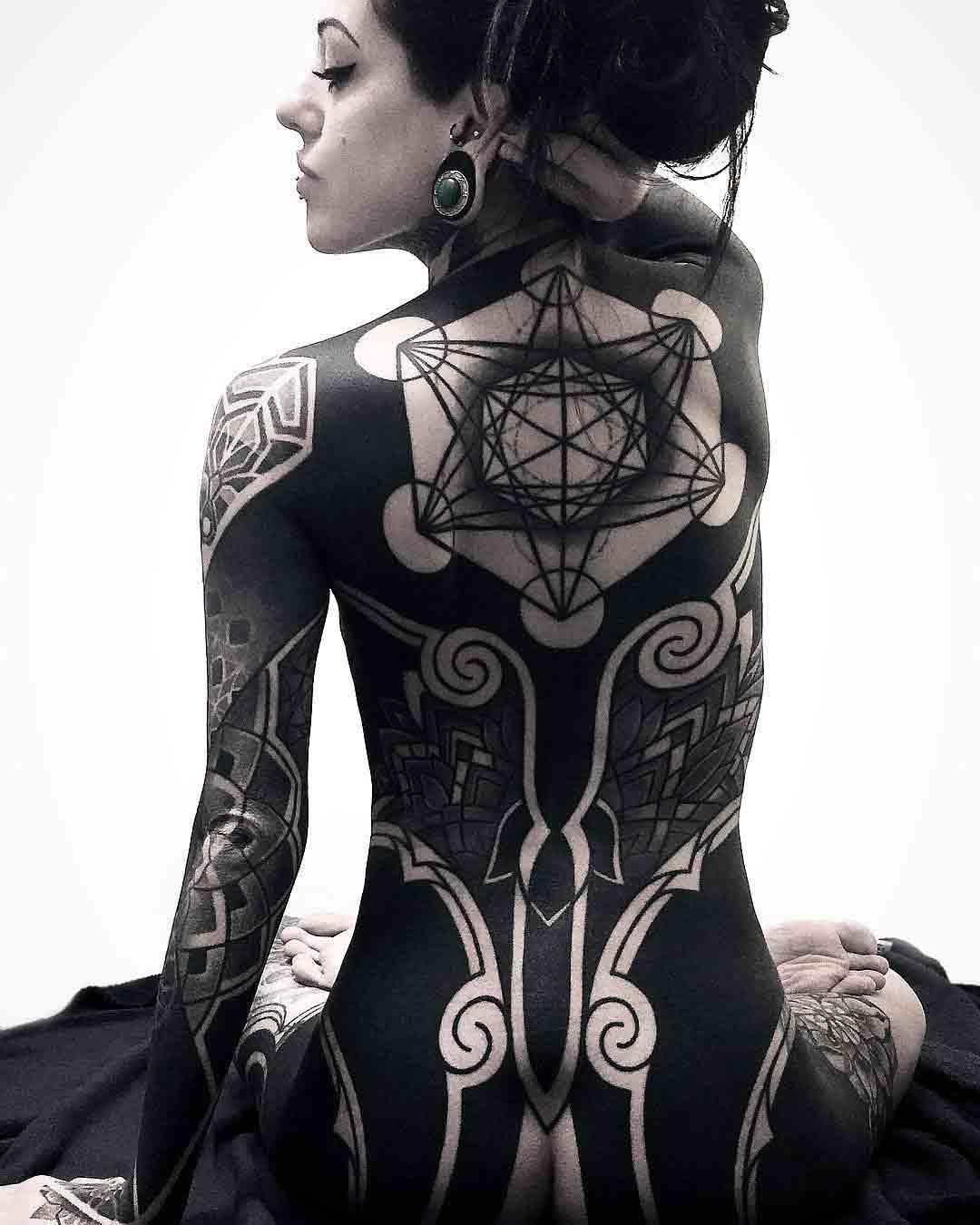 full back geometric tattoo tattoo for girl