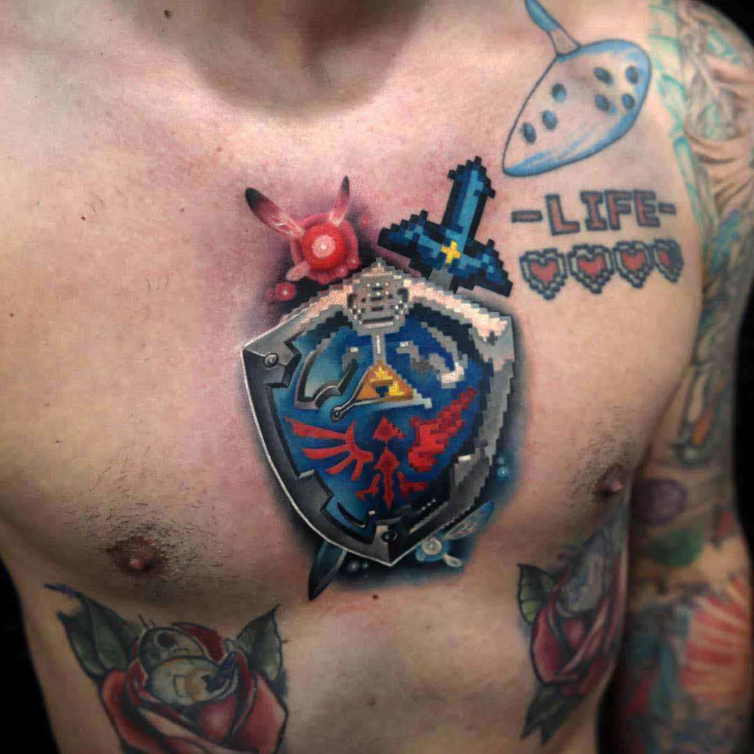 chest tattoo zelda symbol