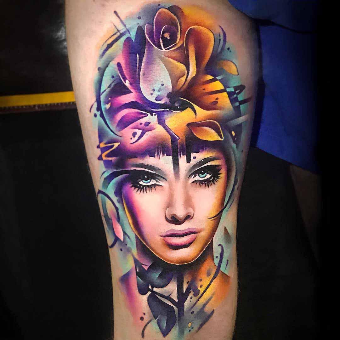 rose portrait tattoo