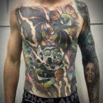 Torso Tattoo Bat and Skull