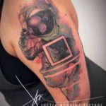 Watercolor Astronaut Tattoo
