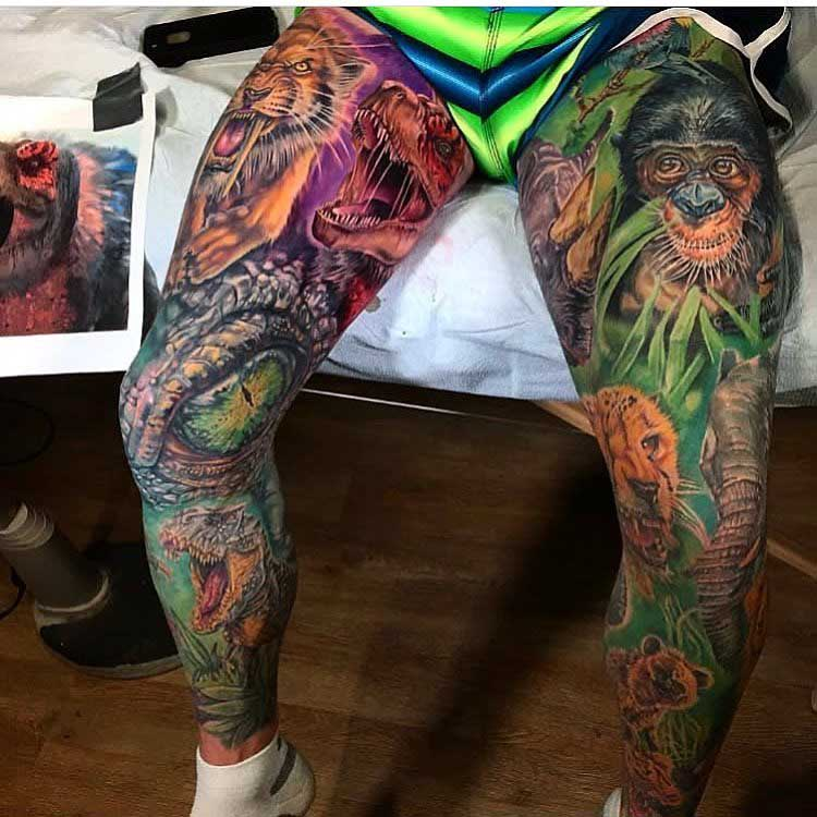 full lege sleeves tattoo animals