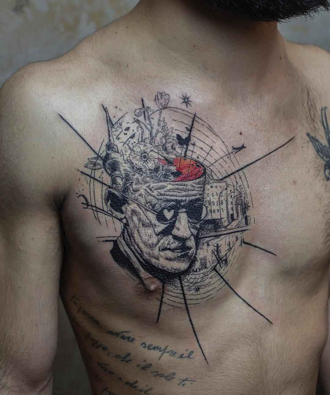 chest tattoo abstract piece