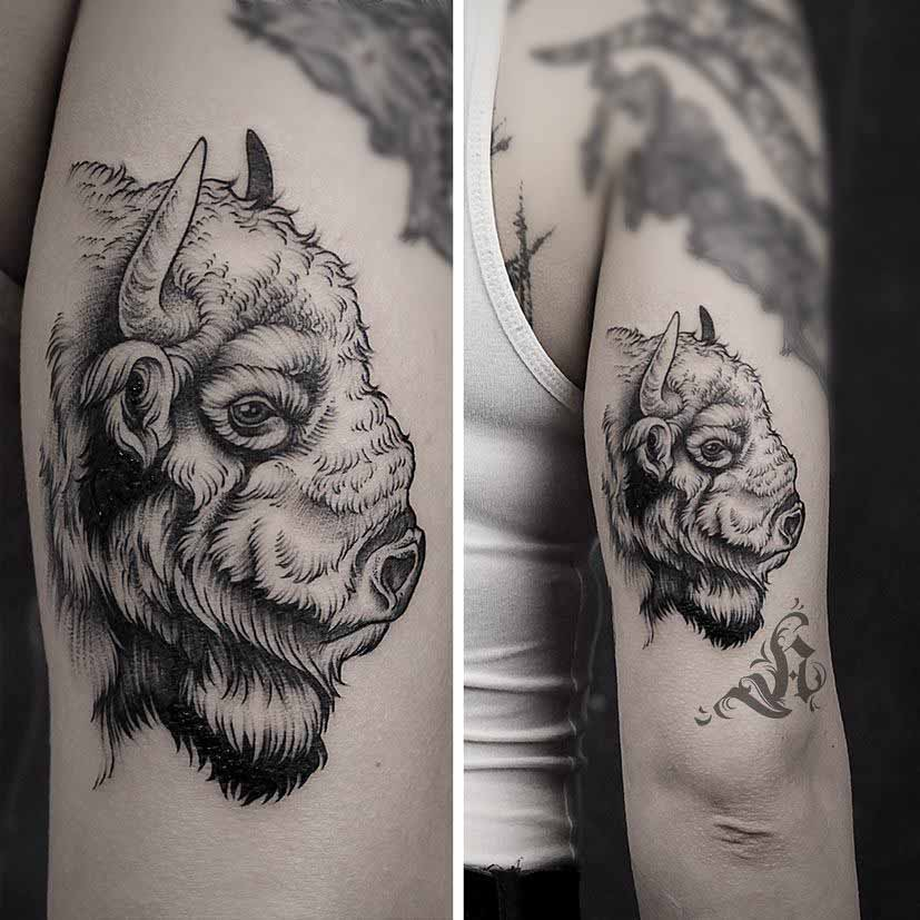 head of bison tattoo