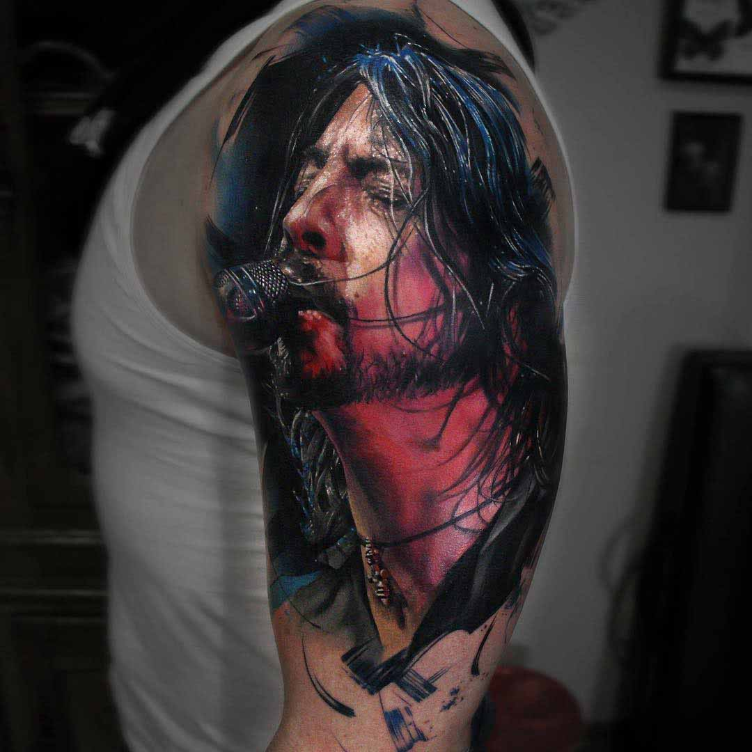 shoulder tattoo Dave Grohl portrait foo foghters
