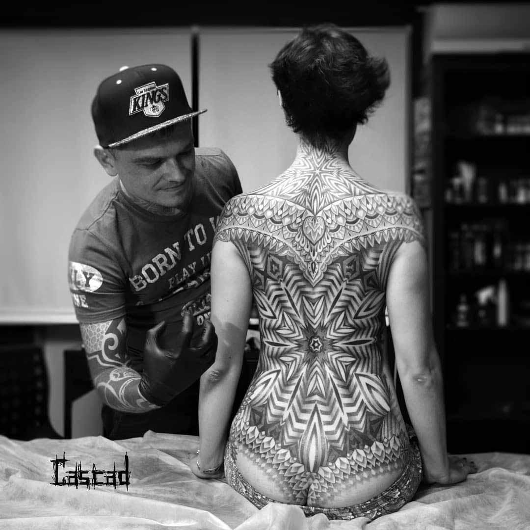 full back tattoo woman