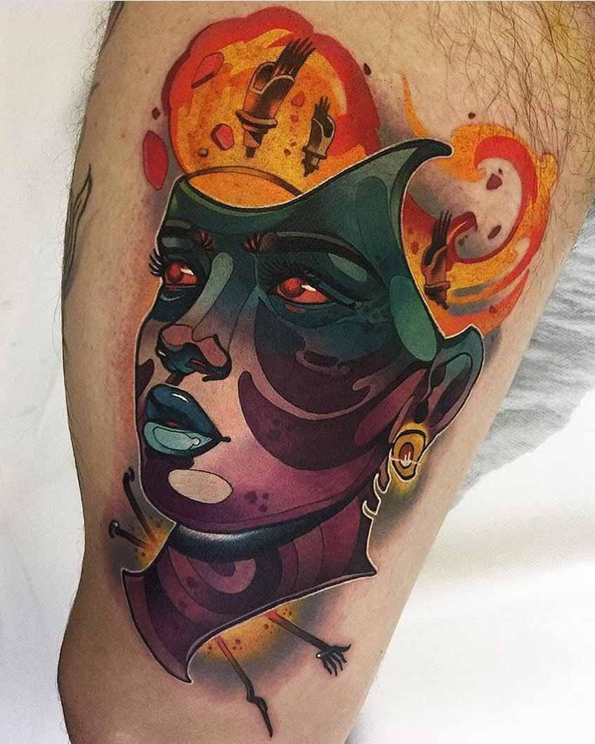thigh tattoo iron head
