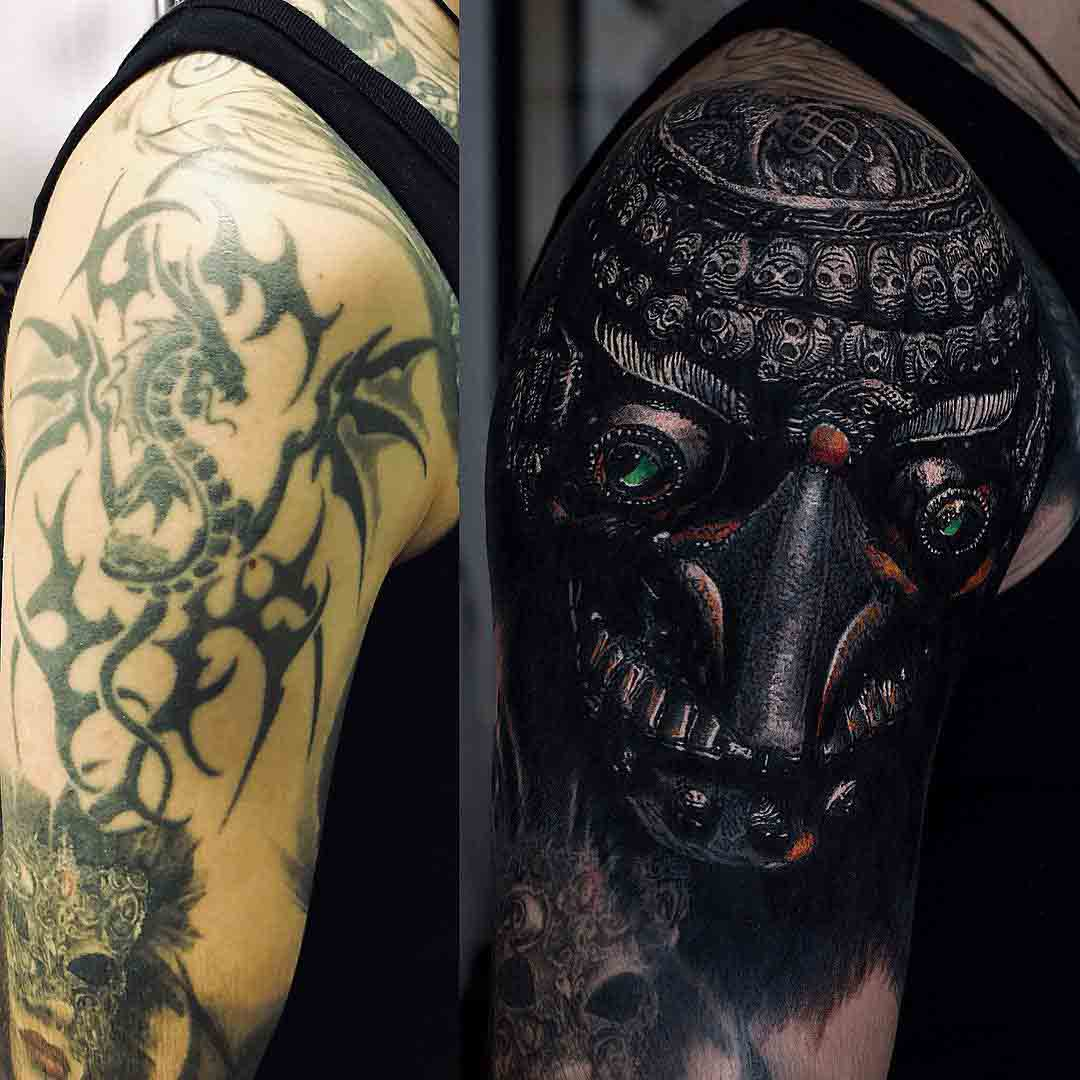 shoulder tattoo cover up kapala skull