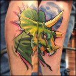 New School Tattoo Triceratops
