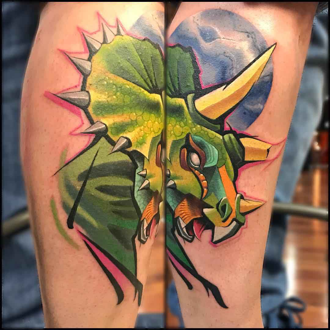 dinosaur tattoo triceratops new school