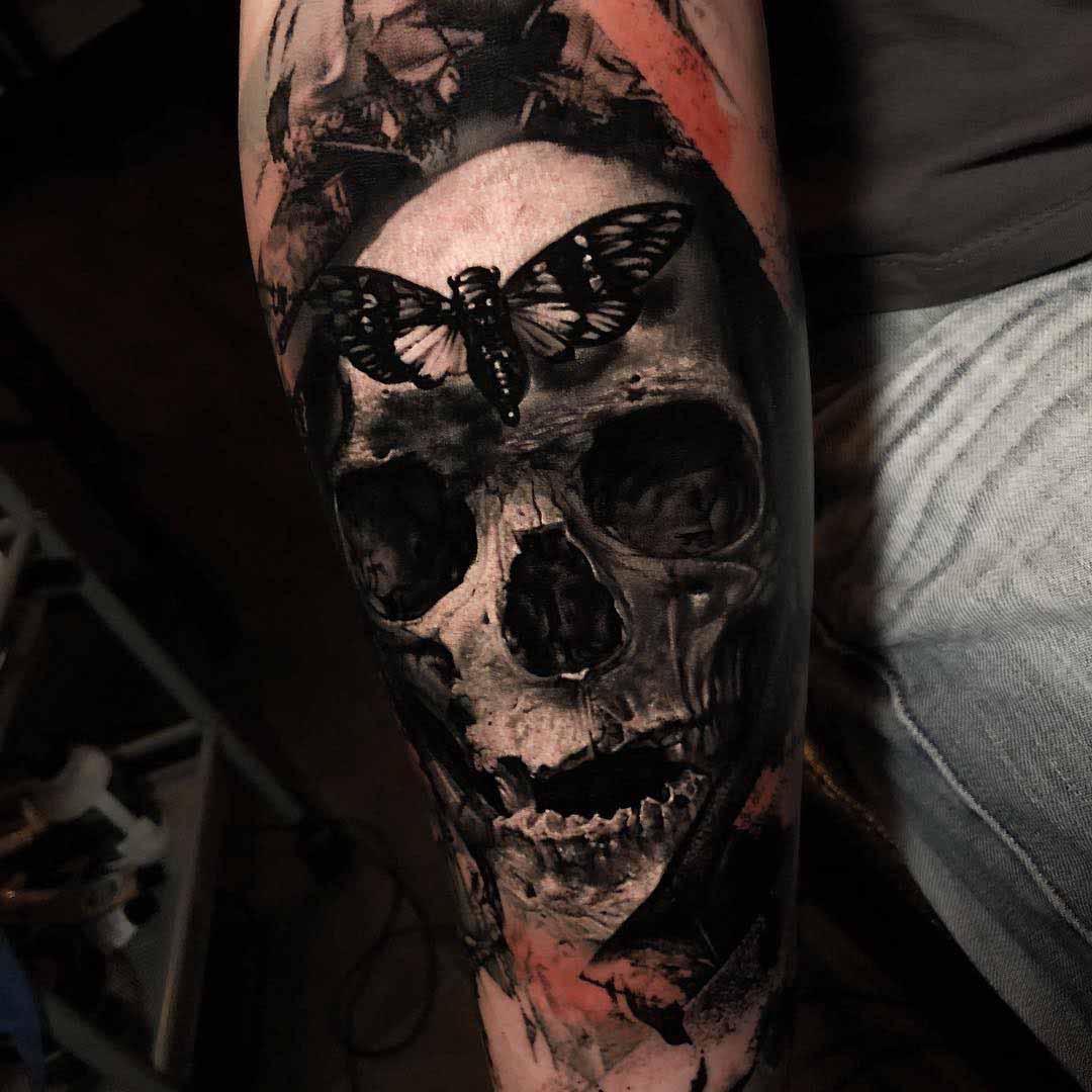 skull tattoo butterfly