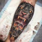 Skull and Tiger Tattoo on Calf