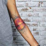 Sunset Tattoo on Inner Elbow