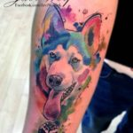 Watercolor Husky Dog Tattoo