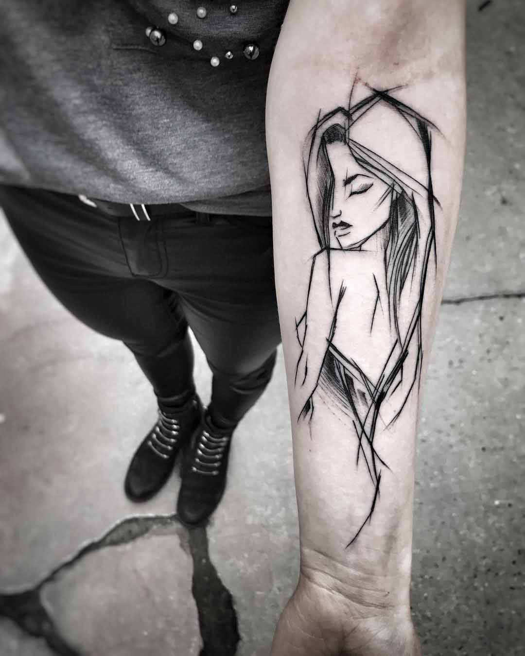 girl sketch tattoo on arm