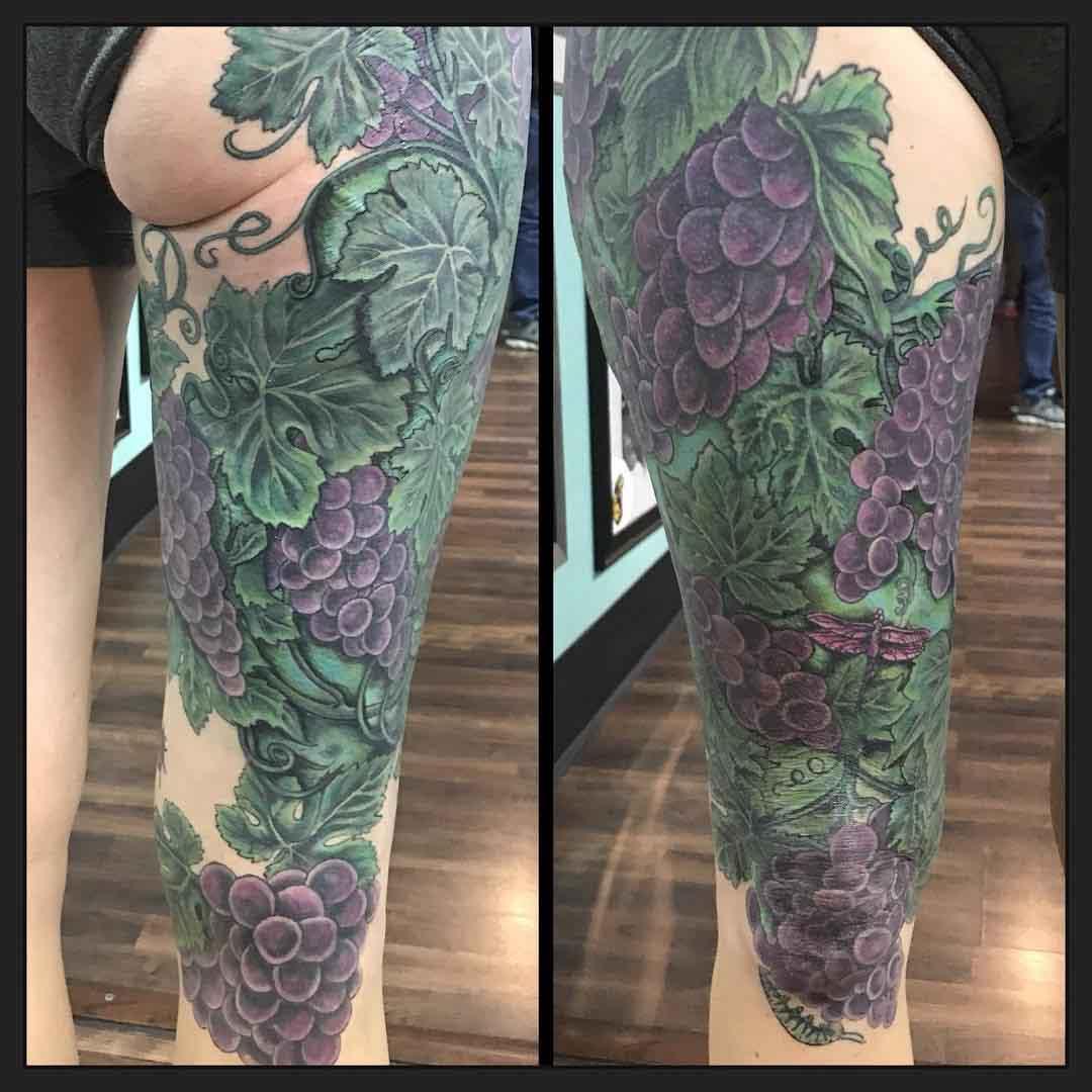 leg tattoo sleeve grapes