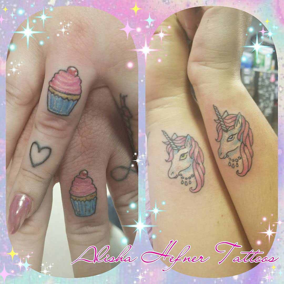 couple tattoos small and cute unicorn tattoo and cup-cake tattoo
