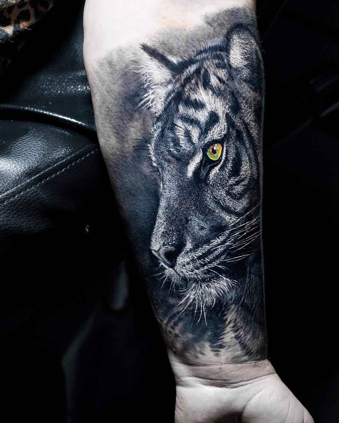 realistic tiger tattoo on arm