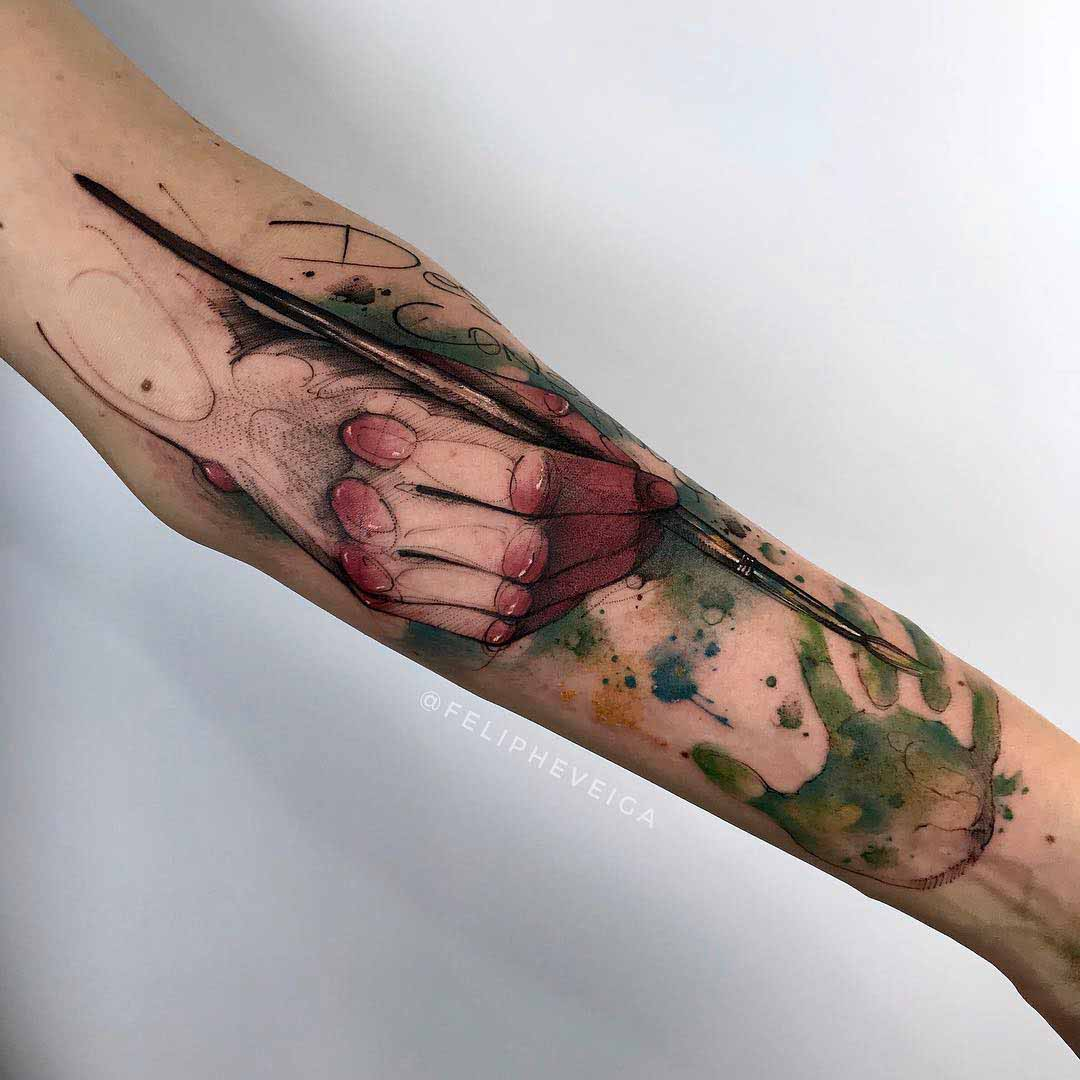 artist tattoo on arm