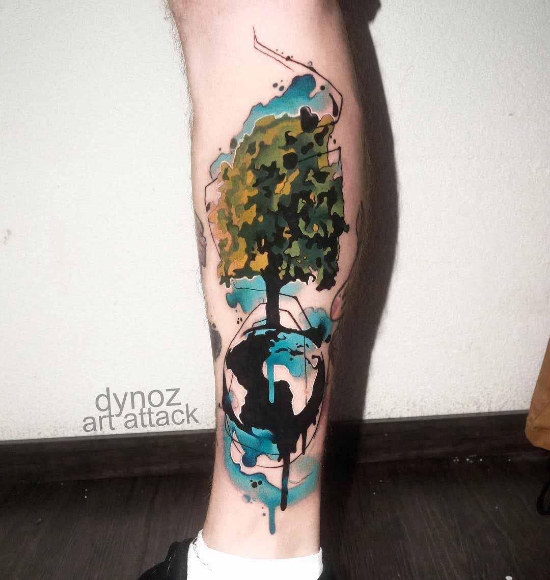 calf tattoo tree watercolor