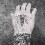 Hand Tattoo Wasp Skull