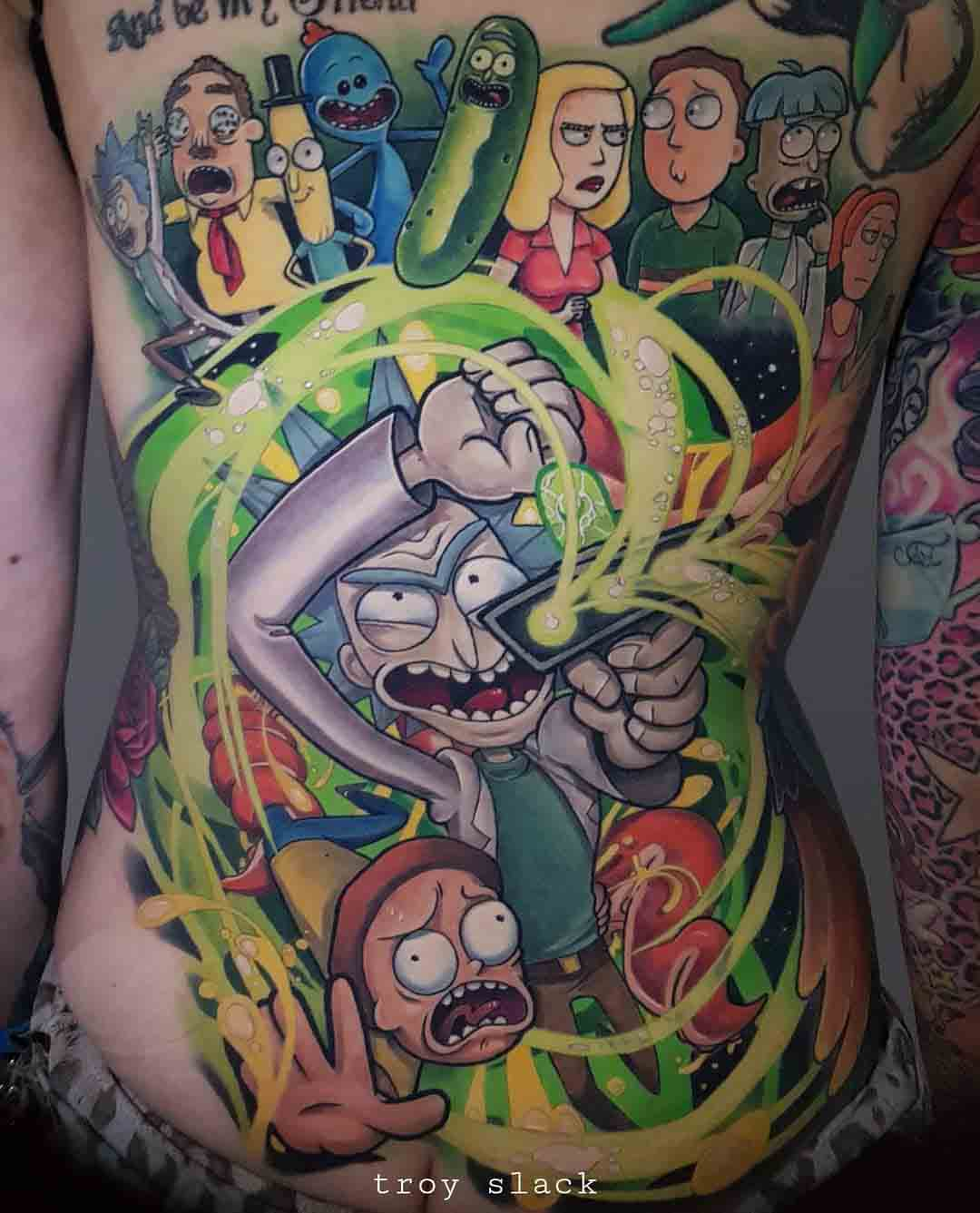 new school torso tattoo rick and morty tribute