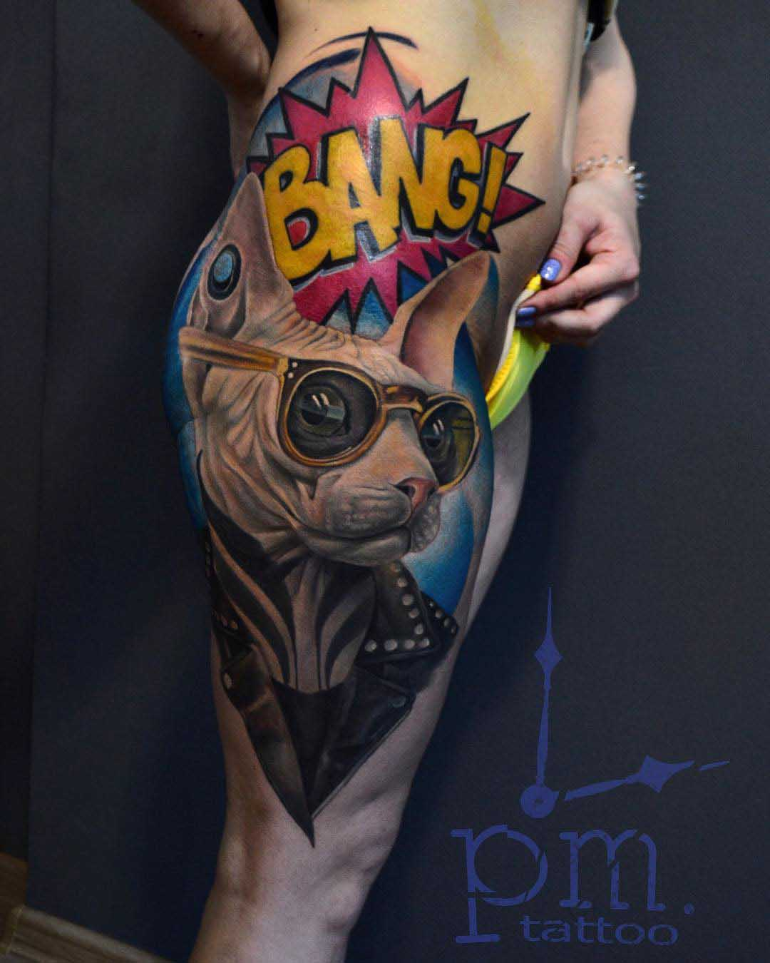 hip tattoo cat sphynx and bang