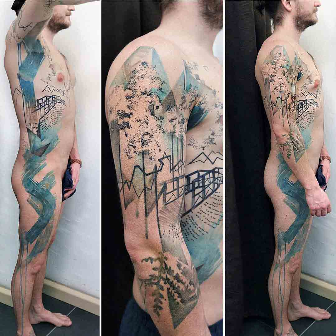 full body side tattoo abstract lanscape