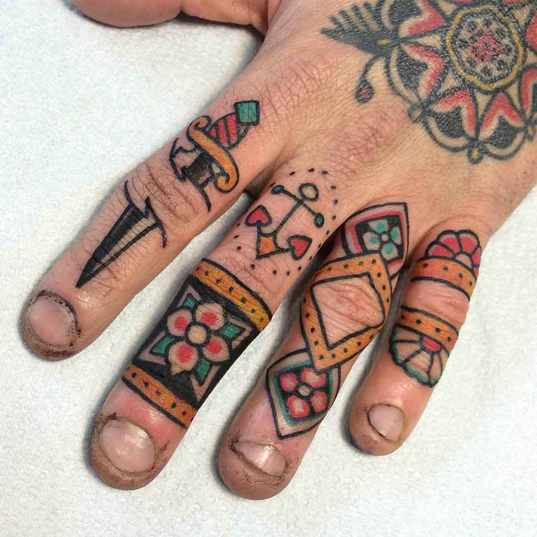 all fingers tattoos traditional style