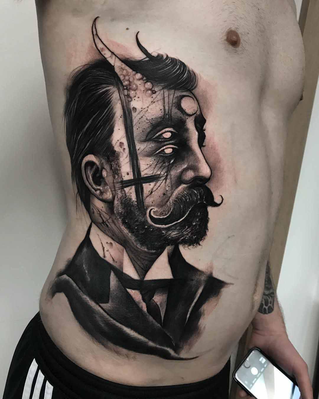 torso side tattoo victorian gentleman