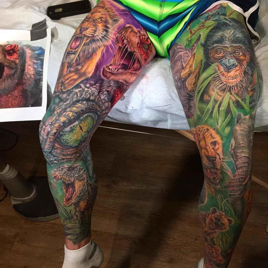 leg tattoo sleeves animalistic