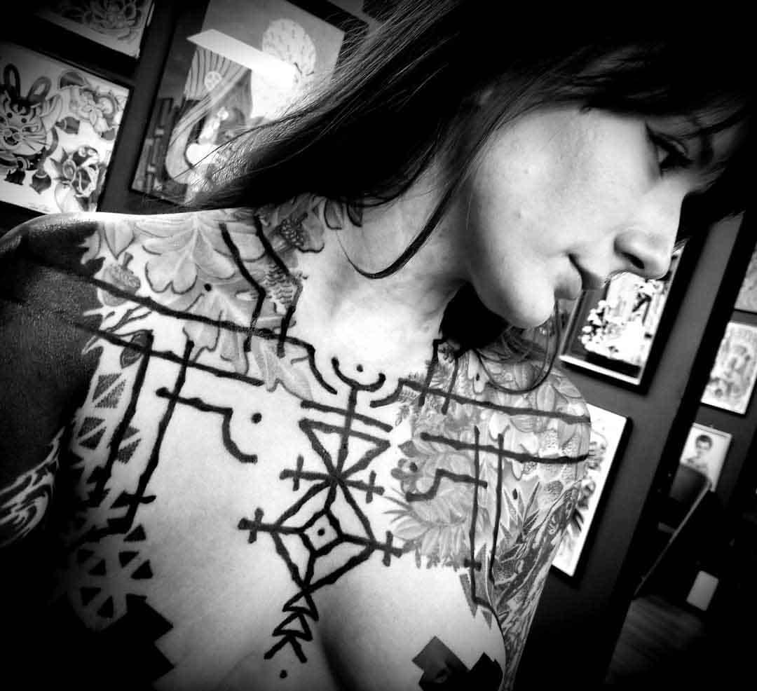 ethnic ornament tattoo lines