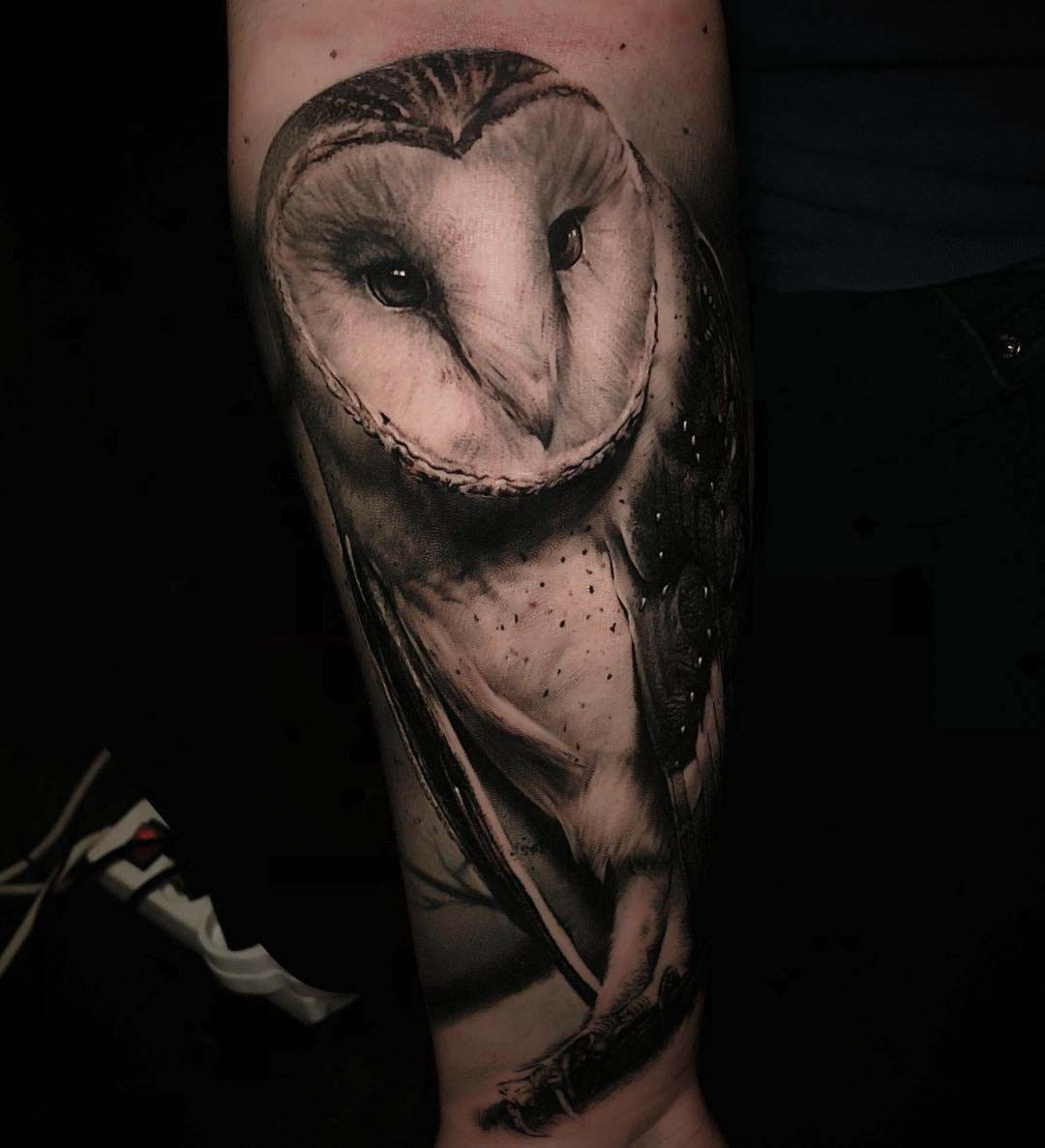 owl tattoo black and grey