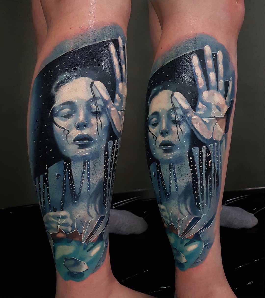 women inside the broken mirror tattoo
