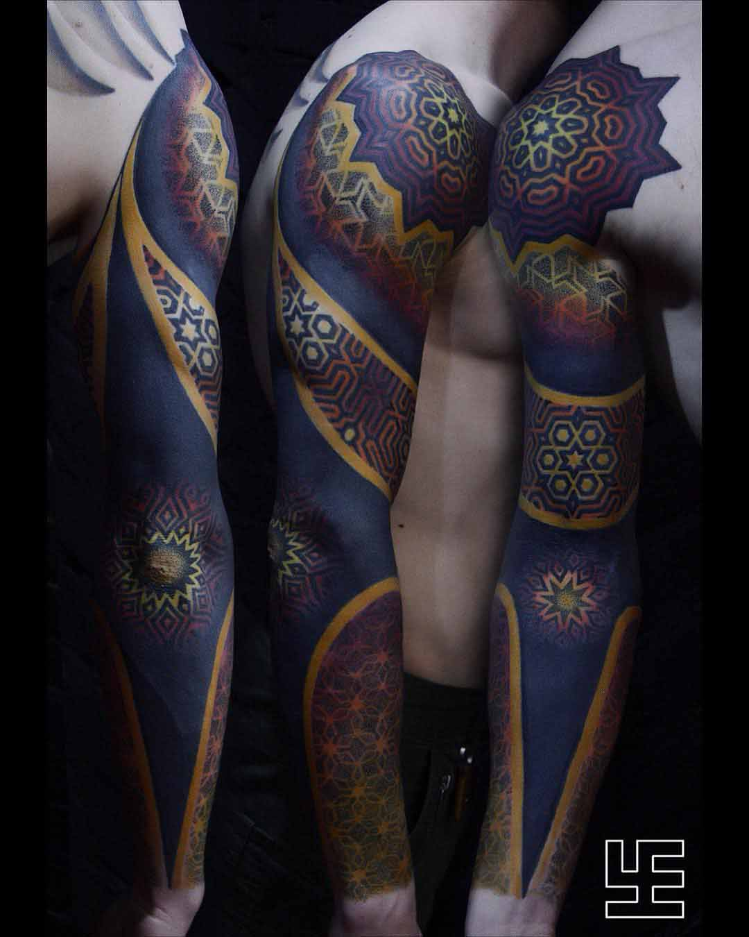dotwork pattern tattoo sleeve