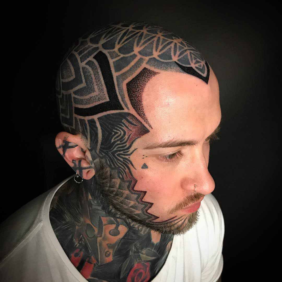 ear and head tattoo