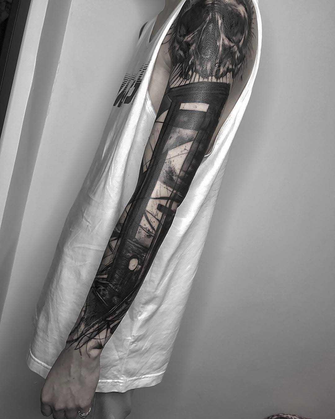 full tattoo sleeve guillotine