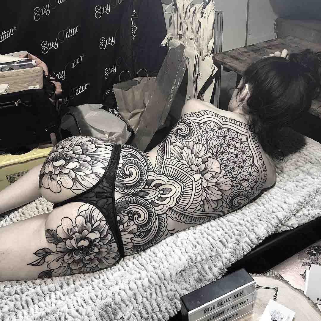 ornamental tattoo on full back