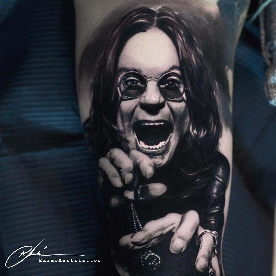 realistic ozzy osbourne tattoo black and grey