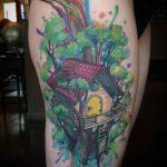 Tree House Tattoo on Thigh