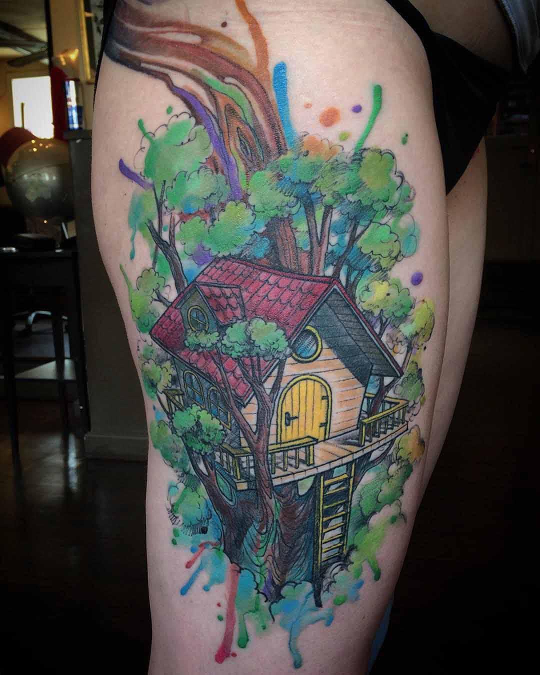 thigh tattoo tree house watercolor style