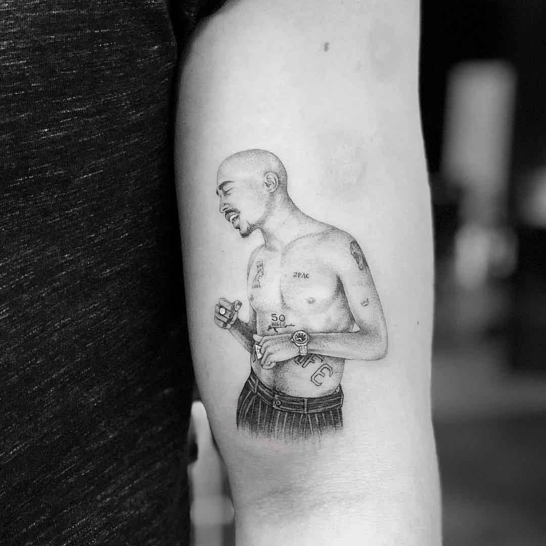 arm tattoo Tupac Shakur