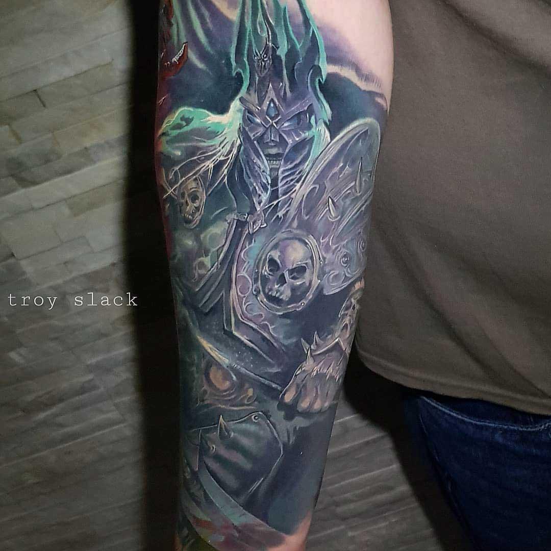 forearm tattoo arthas world of warcraft