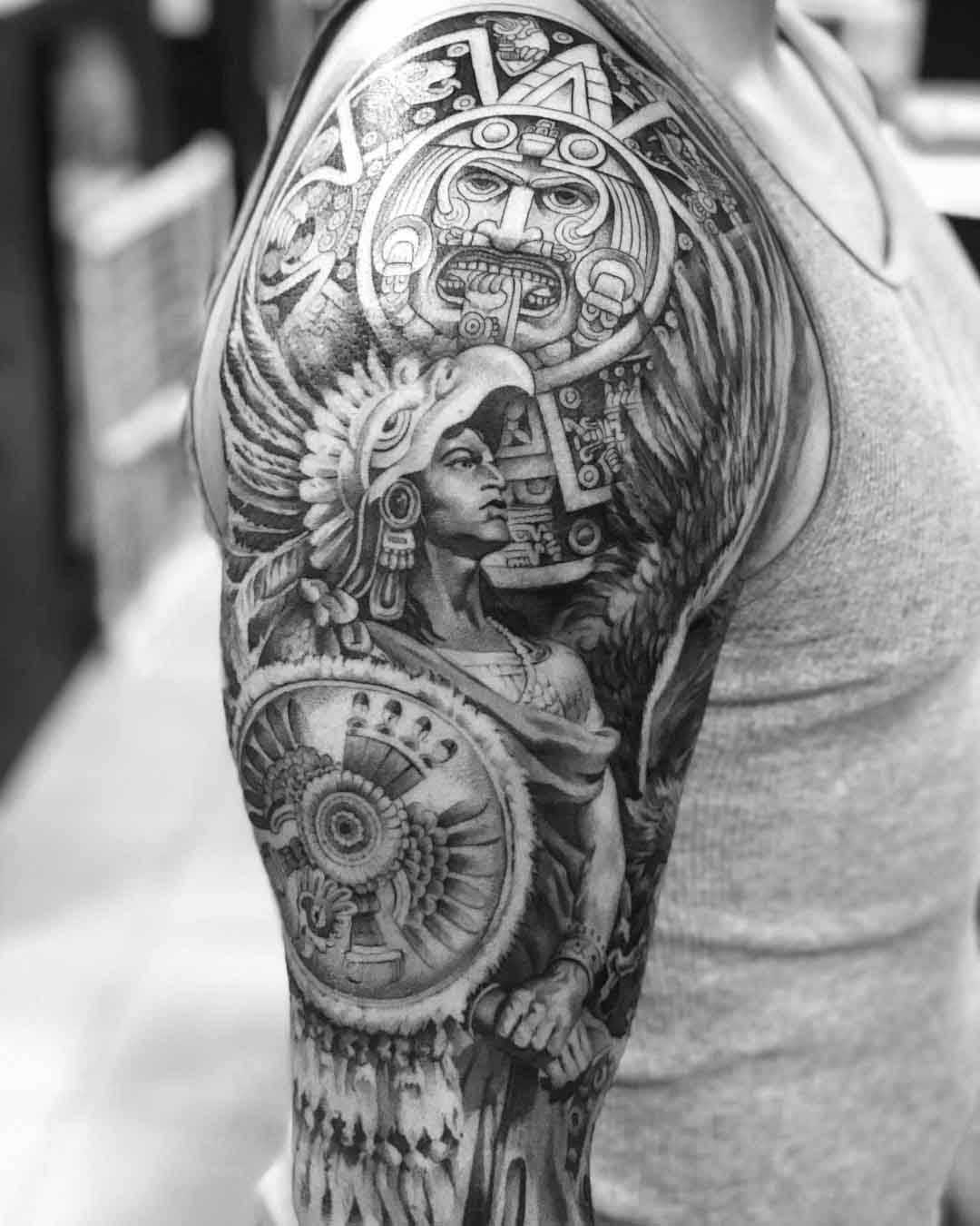 shoulder tattoo aztec